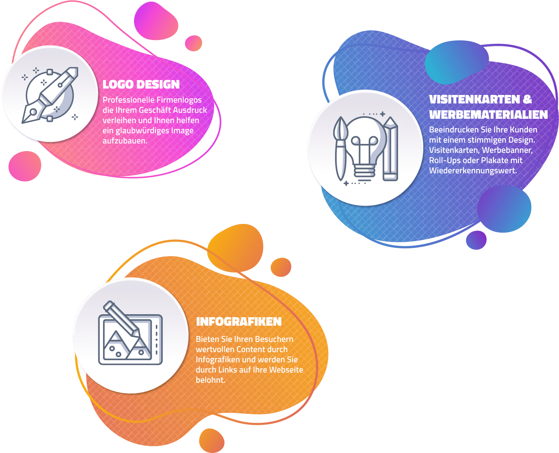 Zu den Grafik Design Leistungen unserer Agentur zählen das Design von Logos, die Konzeption und Gestaltung von Infografiken uvm.