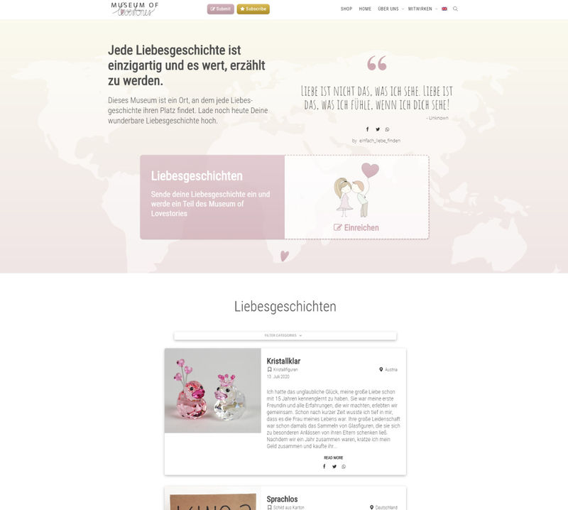 Webseite Projekt - Museum of Lovestories