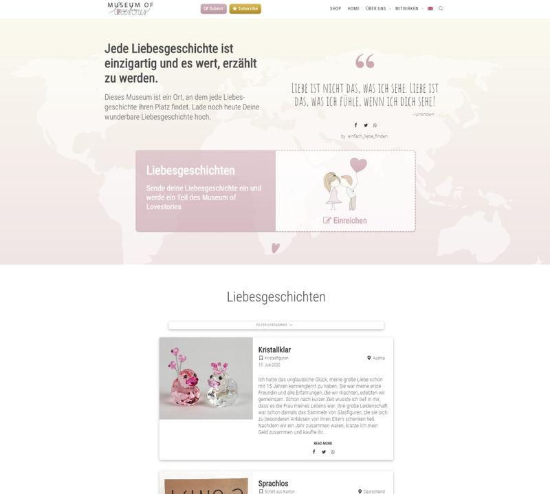 Webseite Projekt - Museum of Lovestories