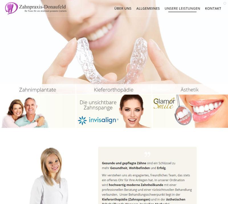 Webseite Projekt - Zahnpraxis Donaufeld